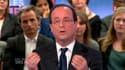 """Invité de l'émission """"Des paroles et des actes"""" sur France 2, François Hollande a estimé n'avoir """"pas besoin de parler comme le Front national"""" pour tenter d'amener les électeurs de Marine le Pen à voter pour lui au second tour. /Copie du 26 avril 2012/RE"""
