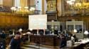 """Lors de l'ouverture du procès en appel de la catastrophe de l'Erika, le 5 octobre 2009. La cour d'appel de Paris a confirmé la condamnation de Total pour """"pollution maritime"""" pour le naufrage du pétrolier Erika en 1999 au large de la Bretagne et porté de"""
