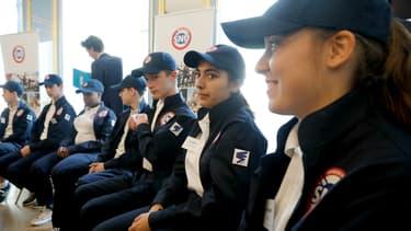 Présentation de l'uniforme du service national universel au ministère de l'Education nationale, le 18 avril 2019