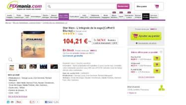 Le site de Pixmania, affichant le coffret à son vrai prix