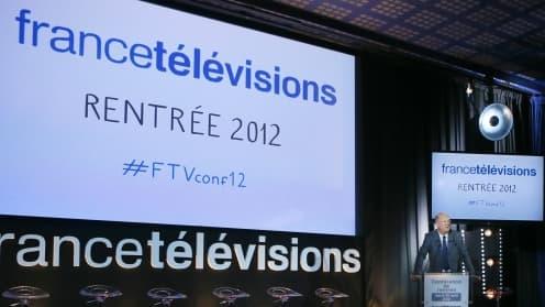 Le PDG de France Télévisions Rémy Pflimlin présentant les programmes de rentrée mardi 28 août 2012