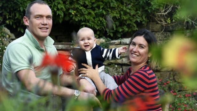 Fañch et ses parents en octobre 2017.
