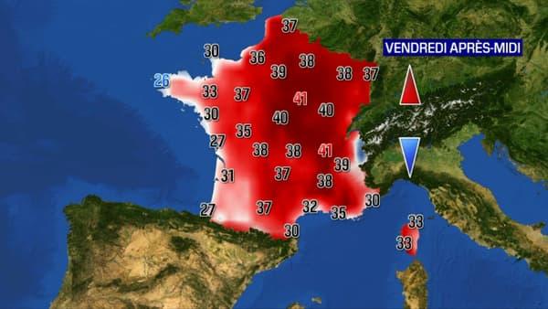 Carte des températures en France ce vendredi.