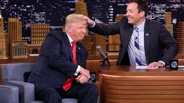 Donald Trump, alors candidat à la présidentielle américaine, sur le plateau de Jimmy Fallon le 15 septembre 2016.
