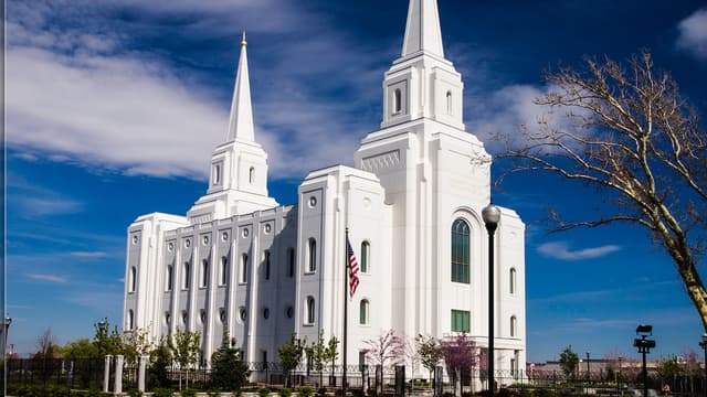 Le temple mormon de la ville de Birgham, dans l'Utah.