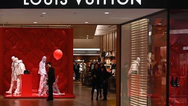 Le magasin Louis Vuitton du centre commercial Times Square à Hong Kong