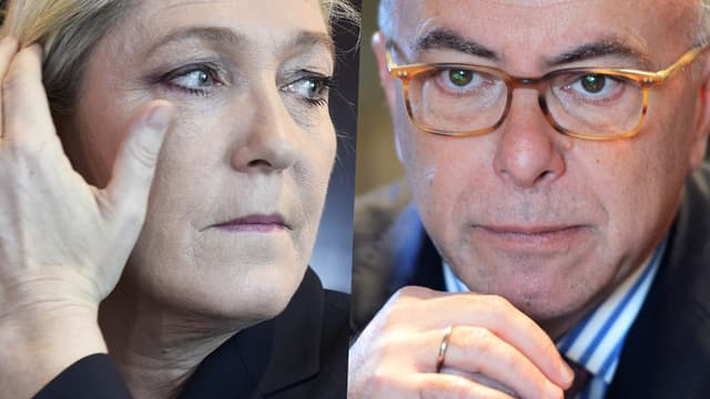 Marine Le Pen et Bernard Cazeneuve.