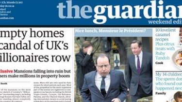La Une du Guardian avec la photo peu flatteuse de Hollande au sortir d'un déjeuner londonien avec Cameron.