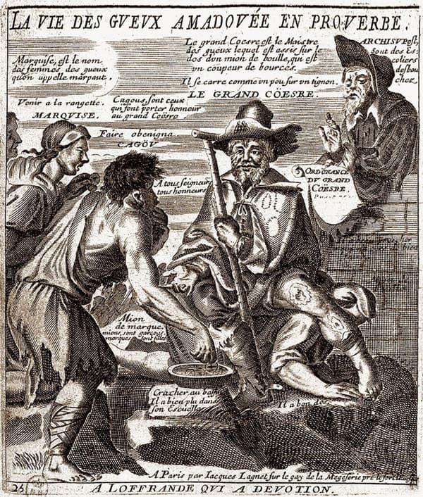 """Gravure représentant """"le grand Coësre"""", le roi des mendiants."""