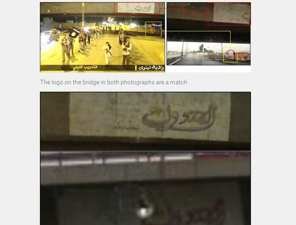 Le site utilise plus de 23 photos pour déterminer où les vidéos du camp d'entraînement de l'EI ont été tournées.