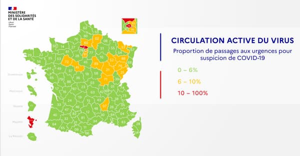La carte de la circulation active du virus