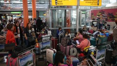 Des passagers bloqués à l'aéroport d'Heathrow, à Londres, en 2017 - Illustration.