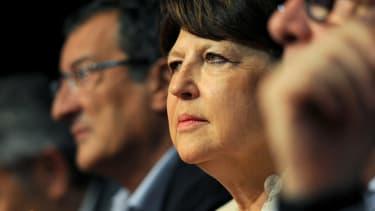 Martine Aubry le 6 juin d'un meeting lors d'un meeting du PS à Poitiers.