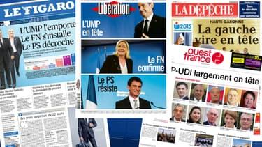Les unes de la presse nationale et régionale sont largement consacrées aux départementales ce lundi.