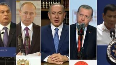 De gauche à droite, Viktor Orban, Vladimir Poutine, Benyamin Netanyahou, Recep Tayyip Erdogan et Rodrigo Duterte