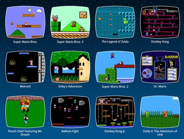 Certains des jeux proposés sur la NES Mini.