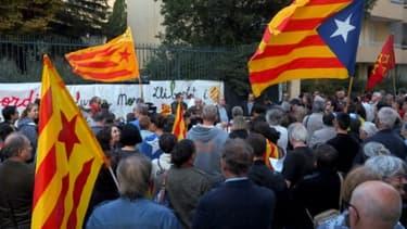 Manifestation contre l'emprisonnement de deux responsables indépendantistes catalans, le 17 octobre 2017 à Perpignan