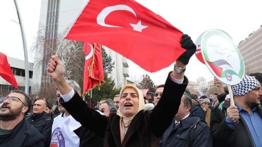 Manifestation en Turquie contre le changement de statut de Jérusalem par le président Donald Trump, le 07 décembre 2017