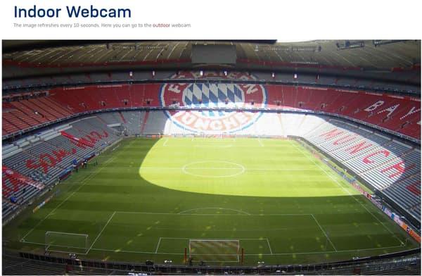 La webcam à l'intérieur de l'Allianz Arena