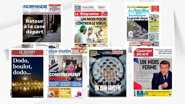 Les unes des journaux du 29 octobre 2020, au lendemain des annonces d'Emmanuel Macron sur le confinement.