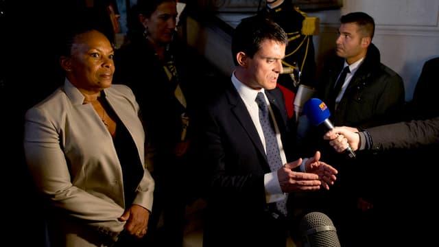Christiane Taubira et Manuel Valls le 12 janvier 2015 à Paris.
