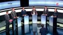 """Les six candidats à la primaire PS, (de gauche à droite) Arnaud Montebourg, Jean-Michel Baylet, Francois Hollande, Martine Aubry, Manuel Vals et Ségolène Royal. François Hollande a dénoncé jeudi """"la richesse insolente"""" et Martine Aubry prôné la suppressio"""