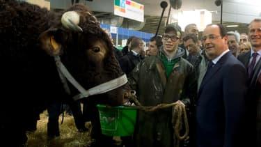 François Hollande au Salon de l'agriculture en février 2014.