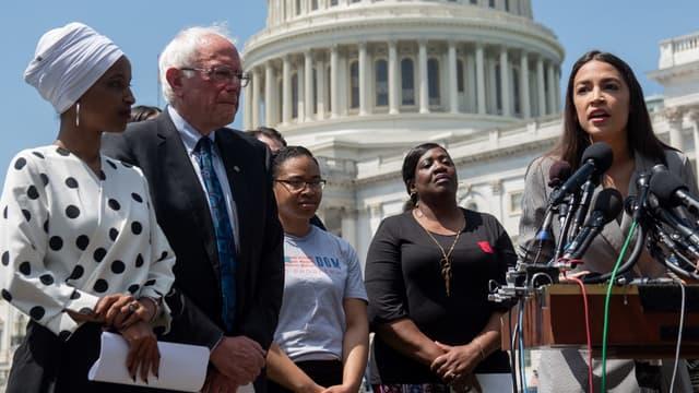 Ilhan Omar, Bernie Sanders et Alexandria Ocasio-Cortez à Washington D.C., le 24 juin 2019