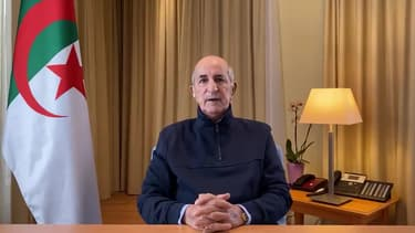 Le président algérien Abdelmadjid Tebboune lors d'une allocution à la télévision le 13 décembre 2020