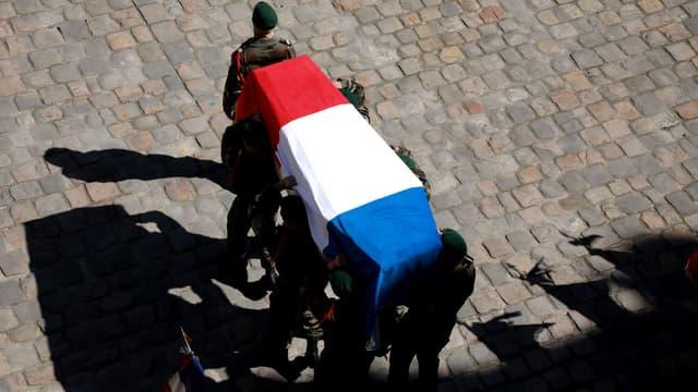 Cérémonie nationale en hommage à Cédric de Pierrepont et Alain Bertoncello, soldats français morts aux Burkina Faso, aux Invalides le 14 mai 2019
