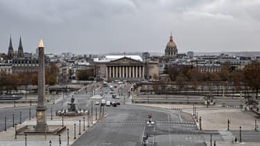 La place de la Concorde à Paris, l'Assemblée Nationale et les Invalides le 16 novembre 2020.
