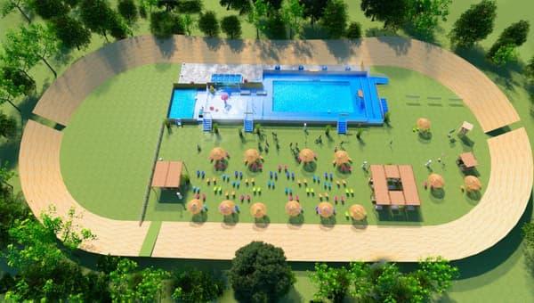 Une piscine éphémère installée au parc de la Tête d'Or (visuel non contractuel)