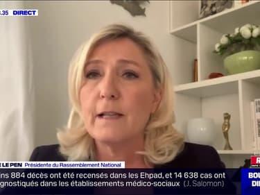 """Coronavirus: """"Le gouvernement s'est retrouvé confronté à des défaillances et au lieu d'assumer, il a menti"""", estime Marine Le Pen (RN)"""