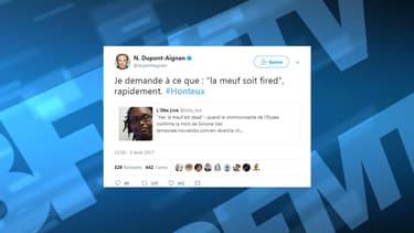 Le fondateur de Debout la France a réagi sur Twitter à la polémique.