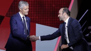 Edouard Philippe et Laurent Wauquiez sur le plateau de l'Emission politique ce jeudi.
