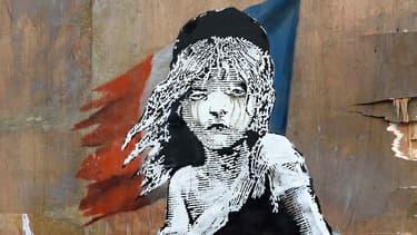 Cosette, personnage central des Misérables de Victor Hugo, dessinée sur un mur par l'artiste Banksy. (Photo d'illustration)