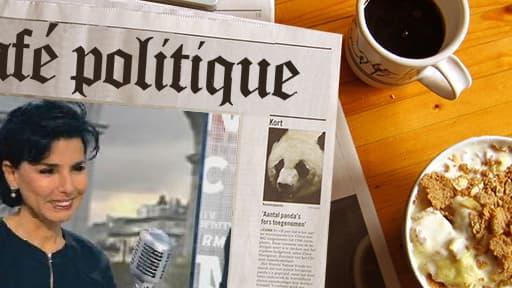 """La maire du 7e arrondissement de Paris Rachida Dati, réagit à la question du """"poulegate"""" sur le plateau de BFMTV, le 11 octobre 2013."""