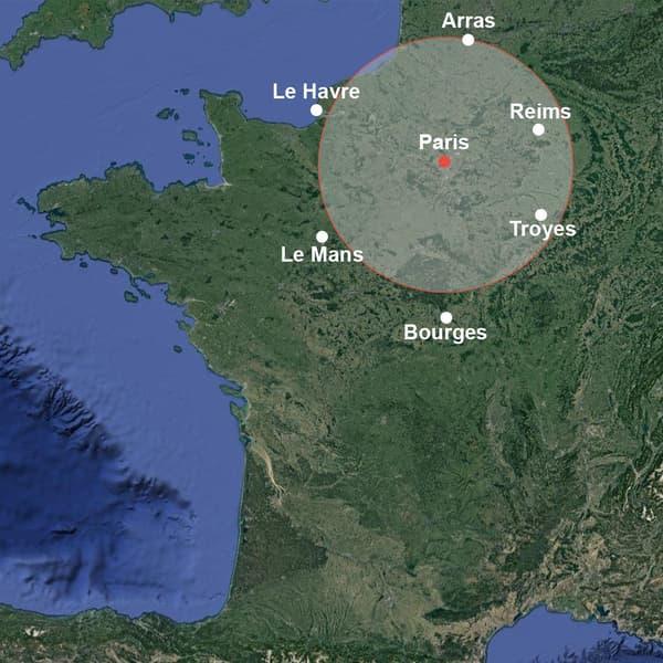 Infographie imaginant les feux australiens s'ils partaient de Paris.