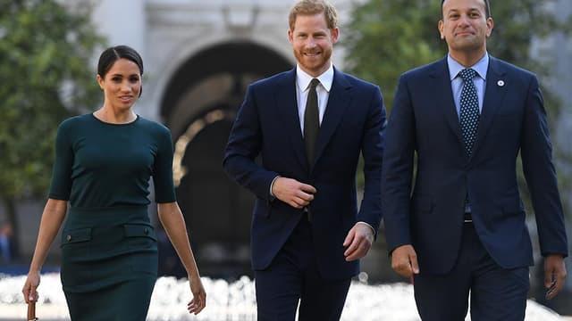 Meghan Markle et le prince Harry, en visite officielle en Irlande, avec le Premier ministre irlandais, Leo Varadkar