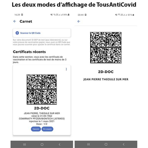 Zrzut ekranu z TousAntiCovid