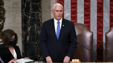 Le vice-président américain Mike Pence, lors de la séance de certification de la victoire de Joe Biden, le 7 janvier 2021