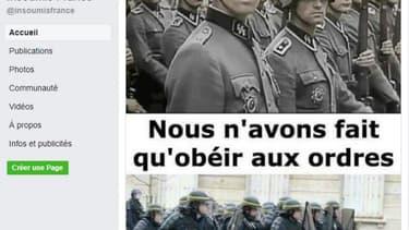 Capture d'écran du post sur la page Facebook «Insoumis France», supprimé depuis.