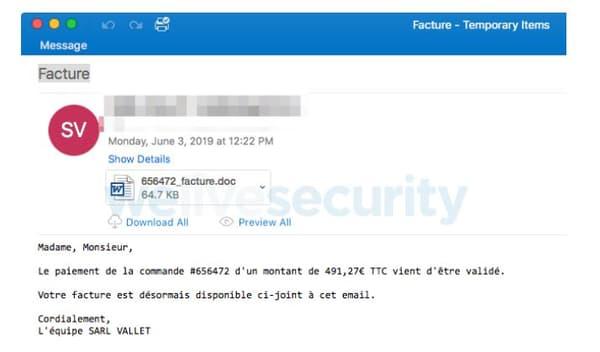 Les mails type permettant de repérer le virus Vareneky.