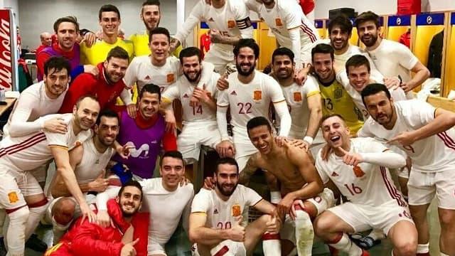 La joie des Espagnols dans le vestiaire