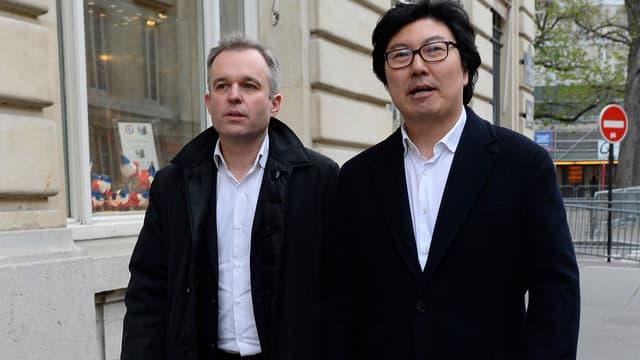 François de Rugy et Jean-Vincent Placé le 4 avril 2015 en arrivant à l'Assemblée nationale.