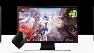 """Blade a développé un petit boîtier, le """"Shadow"""", qui, à condition de disposer d'une connexion internet très haut débit, permet d'avoir accès aux performances d'un ordinateur haut-de-gamme."""