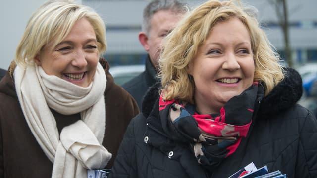 La présidente du FN Marine Le Pen et la candidate du parti dans le Doubs Sophie Montel