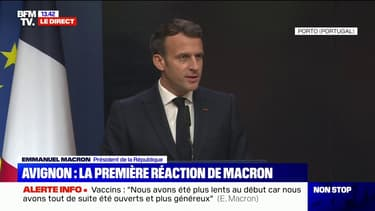"""Policier tué à Avignon: pour Emmanuel Macron, la réponse pénale doit être """"au rendez-vous de la réalité de la société"""""""