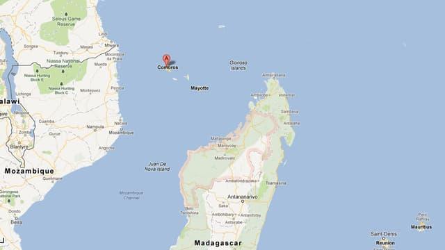 Les Comores, au Nord-Ouest de Madagascar (Sud-Est de l'Afrique).