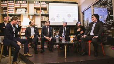 De gauche à droite, Guillaume Besson, Sébastien Chenu, Robin Reda, Philippe Latombe, Laura Slimani, Jean-Vincent Placé, le 13 février 2019.